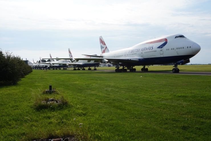 Retired British Airways 747s at Kemble Cotswold Airport. Aircraft Graveyard