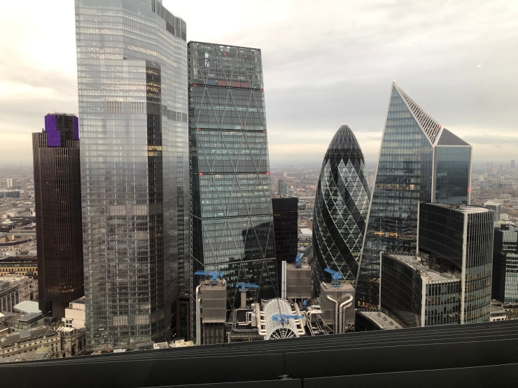 The view towards The 'City of London' from the London Sky Garden.