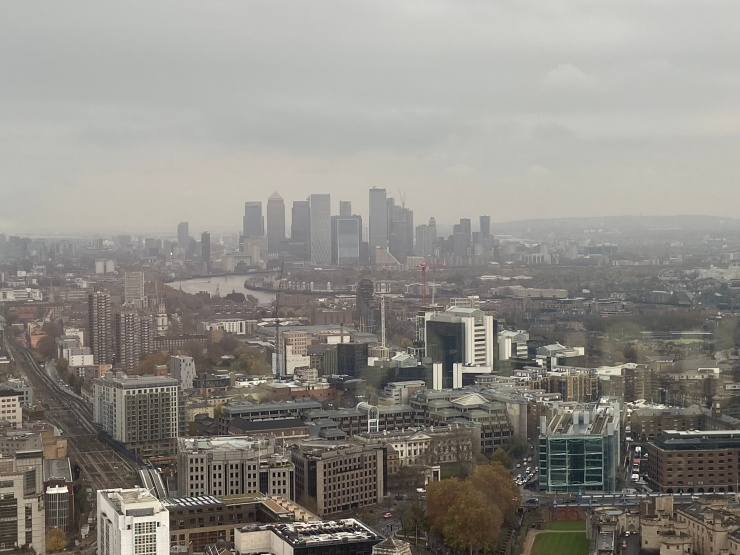 The view towards Canary Warf from the London Sky Garden.