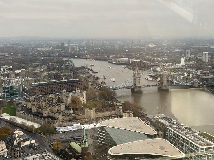 The view towards Tower Bridge and the Tower of London from the London Sky Garden.