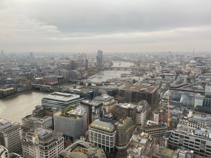 The view down the Thames from the London Sky Garden.