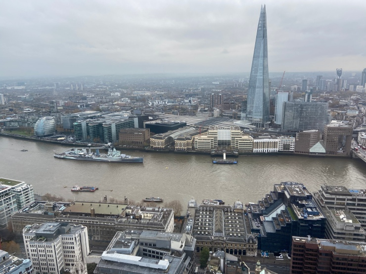 The view towards The Shard from the London Sky Garden.
